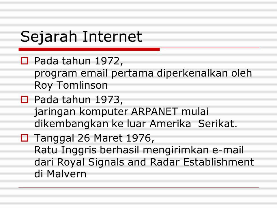 Sejarah Internet  Pada tahun 1972, program email pertama diperkenalkan oleh Roy Tomlinson  Pada tahun 1973, jaringan komputer ARPANET mulai dikemban