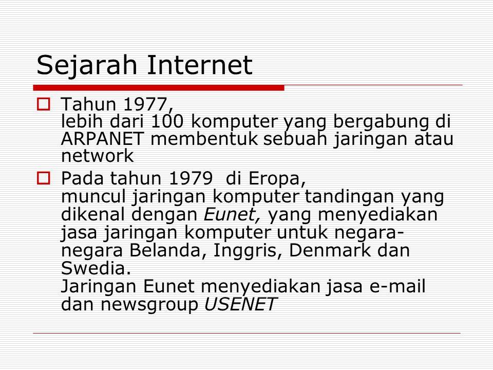 Sejarah Internet  Tahun 1977, lebih dari 100 komputer yang bergabung di ARPANET membentuk sebuah jaringan atau network  Pada tahun 1979 di Eropa, mu
