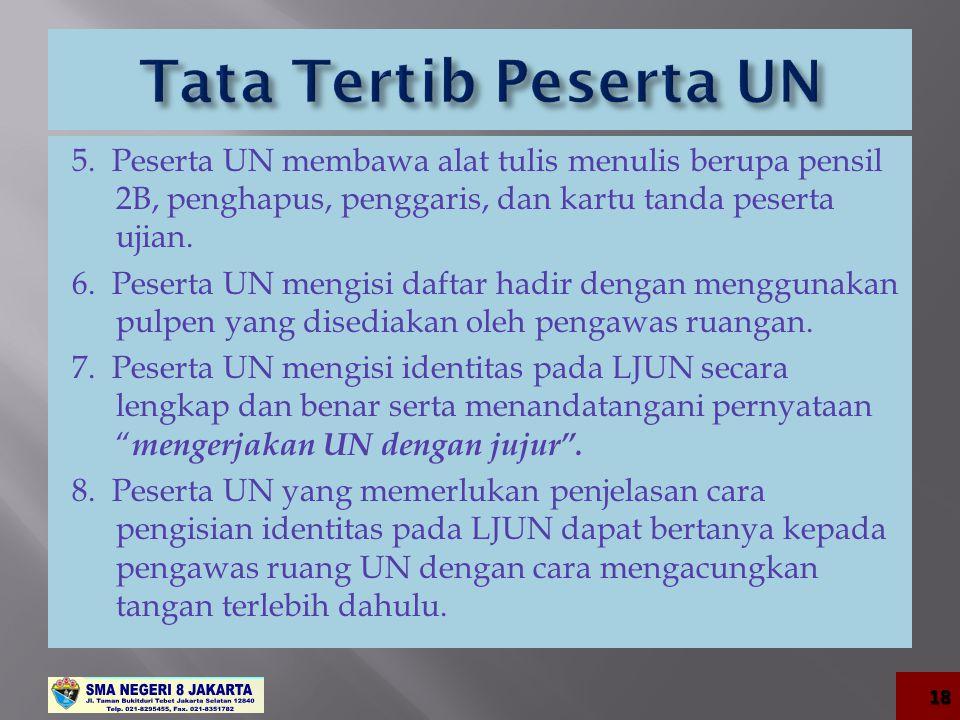 5. Peserta UN membawa alat tulis menulis berupa pensil 2B, penghapus, penggaris, dan kartu tanda peserta ujian. 6. Peserta UN mengisi daftar hadir den