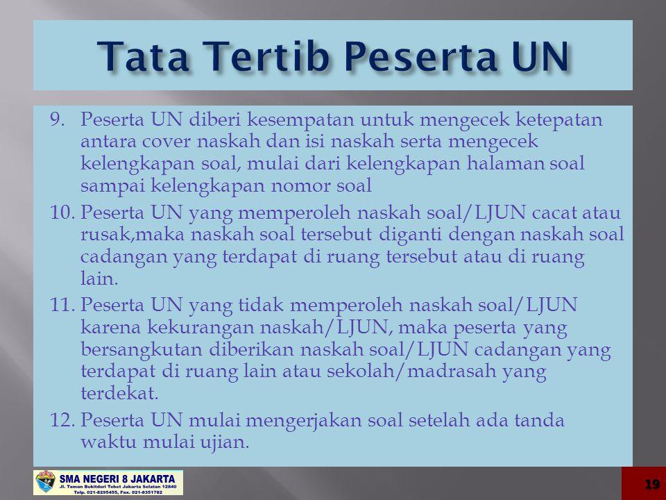 9. Peserta UN diberi kesempatan untuk mengecek ketepatan antara cover naskah dan isi naskah serta mengecek kelengkapan soal, mulai dari kelengkapan ha