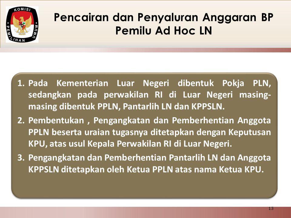 Pencairan dan Penyaluran Anggaran BP Pemilu Ad Hoc LN 1.Pada Kementerian Luar Negeri dibentuk Pokja PLN, sedangkan pada perwakilan RI di Luar Negeri m