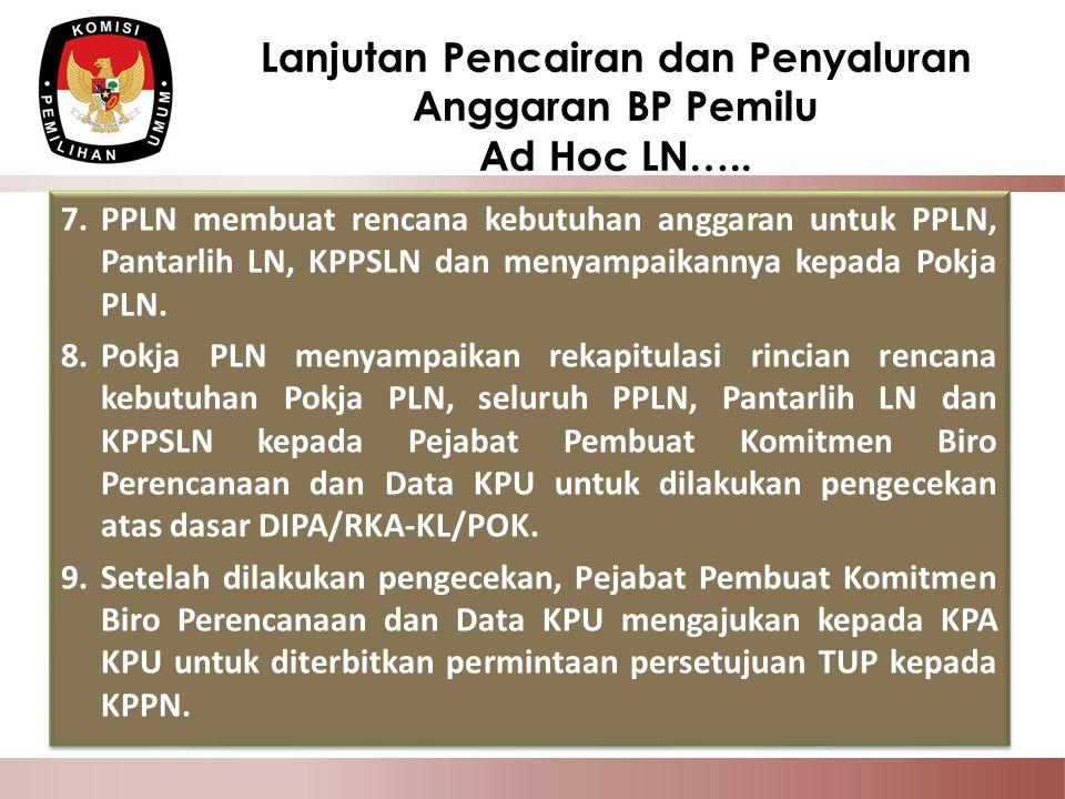 7.PPLN membuat rencana kebutuhan anggaran untuk PPLN, Pantarlih LN, KPPSLN dan menyampaikannya kepada Pokja PLN. 8.Pokja PLN menyampaikan rekapitulasi