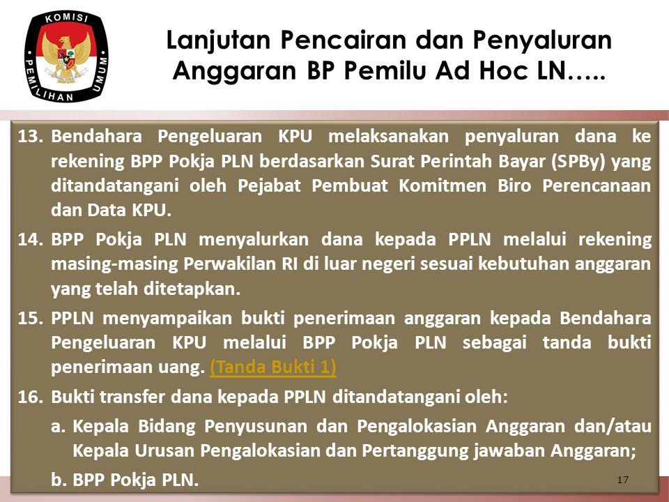 13.Bendahara Pengeluaran KPU melaksanakan penyaluran dana ke rekening BPP Pokja PLN berdasarkan Surat Perintah Bayar (SPBy) yang ditandatangani oleh P