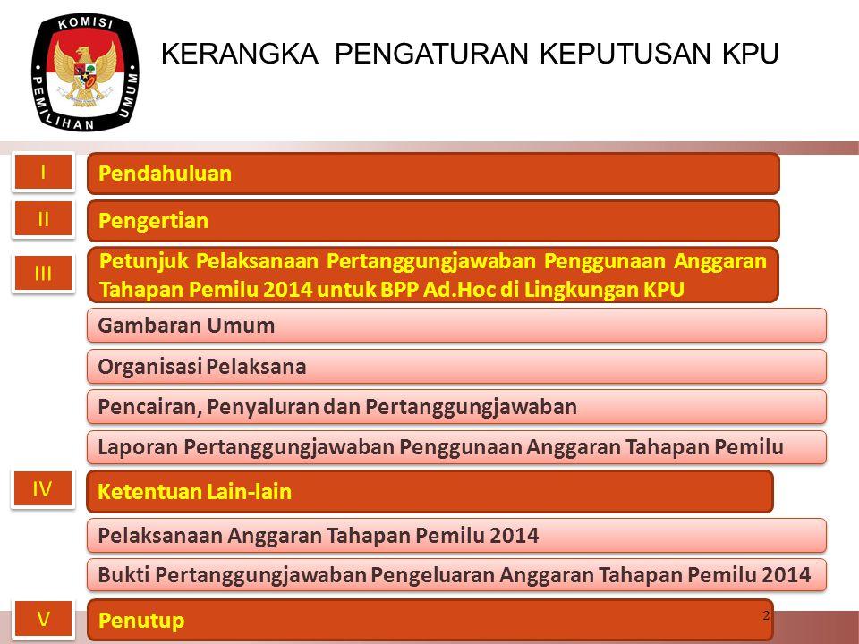 Pencairan dan Penyaluran Anggaran BP Pemilu Ad Hoc LN 1.Pada Kementerian Luar Negeri dibentuk Pokja PLN, sedangkan pada perwakilan RI di Luar Negeri masing- masing dibentuk PPLN, Pantarlih LN dan KPPSLN.