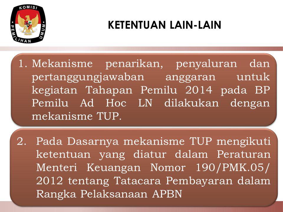 22 KETENTUAN LAIN-LAIN 1.Mekanisme penarikan, penyaluran dan pertanggungjawaban anggaran untuk kegiatan Tahapan Pemilu 2014 pada BP Pemilu Ad Hoc LN d