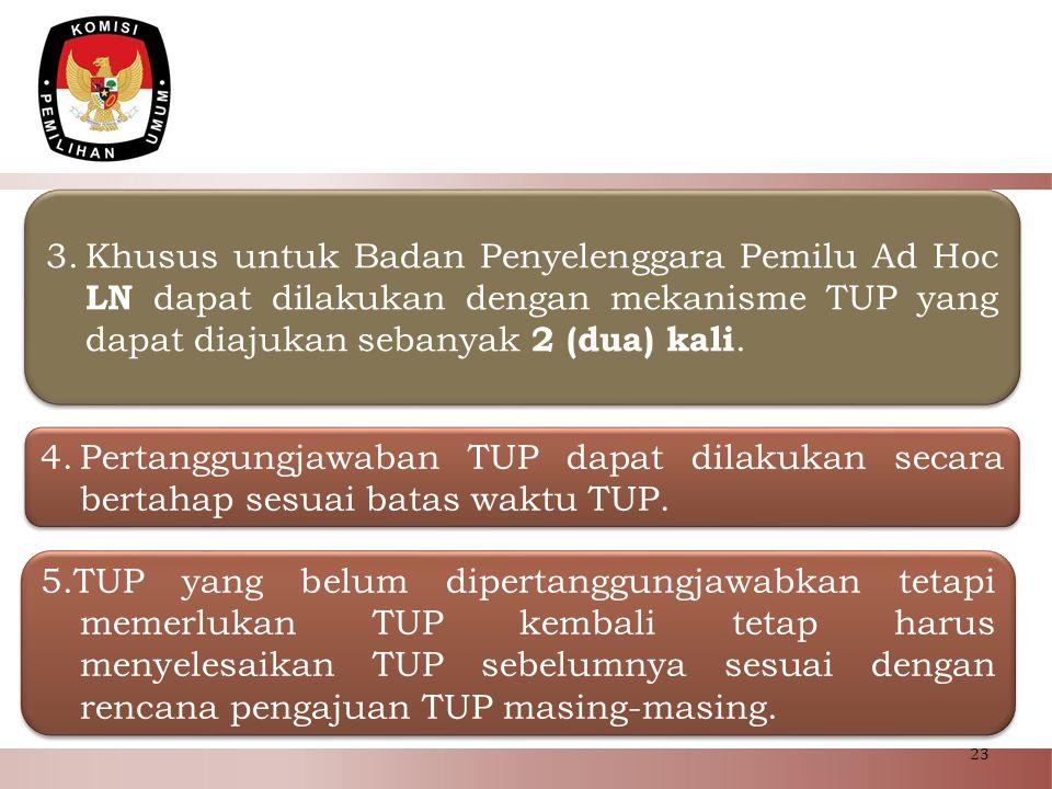 23 3.Khusus untuk Badan Penyelenggara Pemilu Ad Hoc LN dapat dilakukan dengan mekanisme TUP yang dapat diajukan sebanyak 2 (dua) kali. 5.TUP yang belu