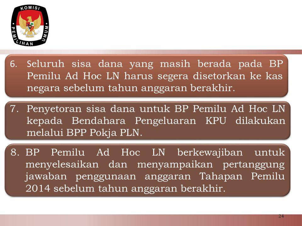 24 6.S eluruh sisa dana yang masih berada pada BP Pemilu Ad Hoc LN harus segera disetorkan ke kas negara sebelum tahun anggaran berakhir. 7.Penyetoran