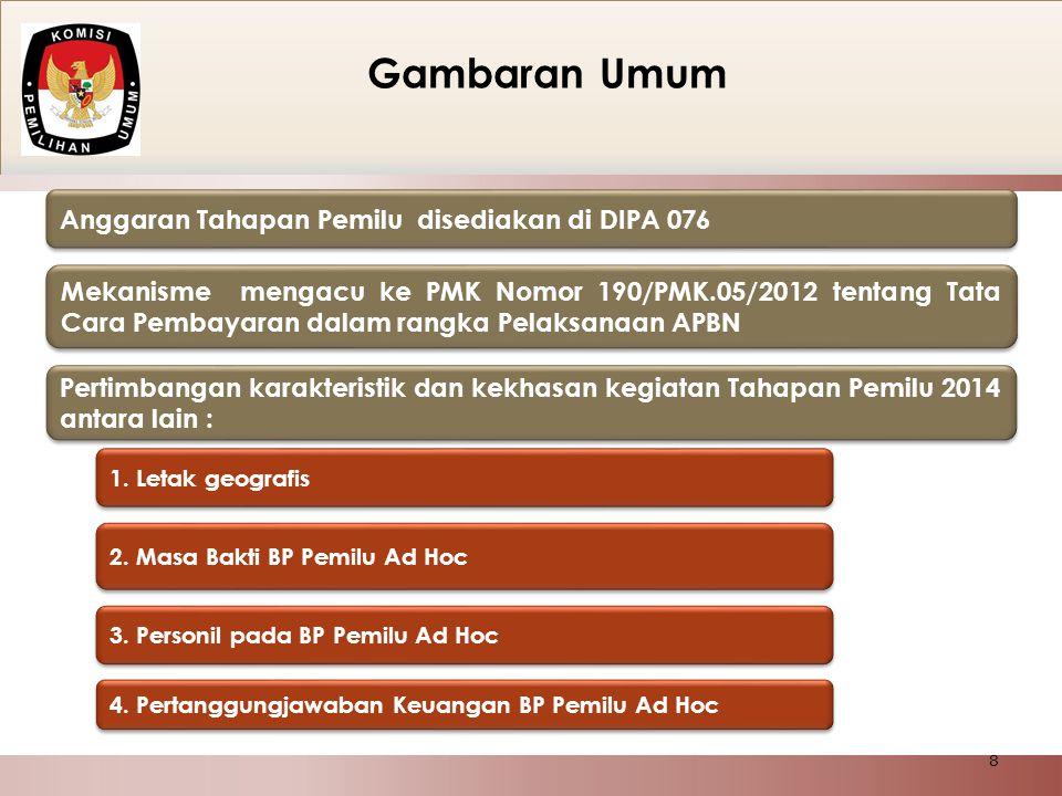 Anggaran Tahapan Pemilu disediakan di DIPA 076 Mekanisme mengacu ke PMK Nomor 190/PMK.05/2012 tentang Tata Cara Pembayaran dalam rangka Pelaksanaan AP
