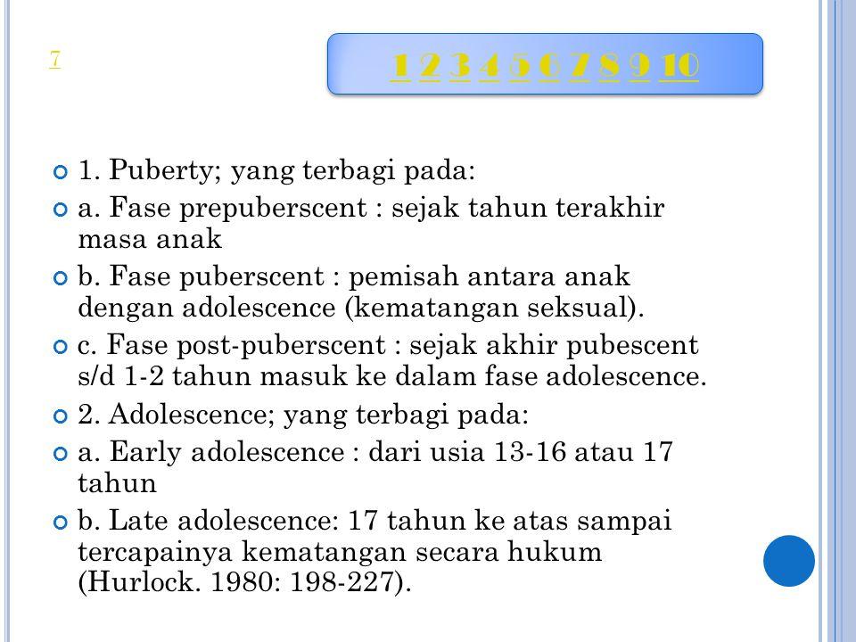 1. Puberty; yang terbagi pada: a. Fase prepuberscent : sejak tahun terakhir masa anak b. Fase puberscent : pemisah antara anak dengan adolescence (kem