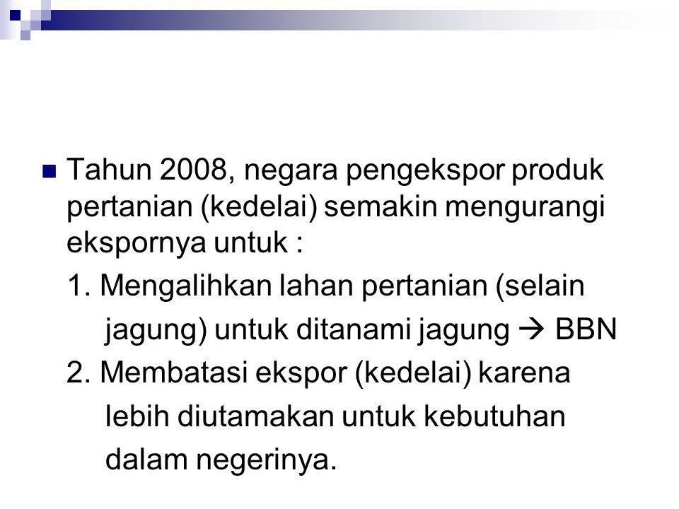  Tahun 2008, negara pengekspor produk pertanian (kedelai) semakin mengurangi ekspornya untuk : 1. Mengalihkan lahan pertanian (selain jagung) untuk d
