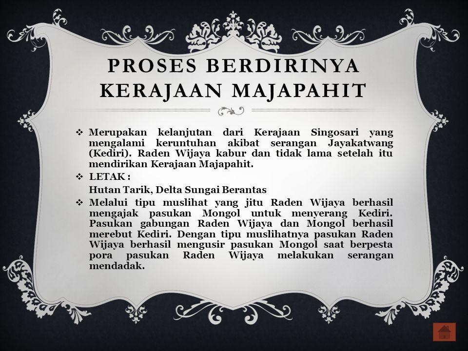 PROSES BERDIRINYA KERAJAAN MAJAPAHIT  Merupakan kelanjutan dari Kerajaan Singosari yang mengalami keruntuhan akibat serangan Jayakatwang (Kediri).