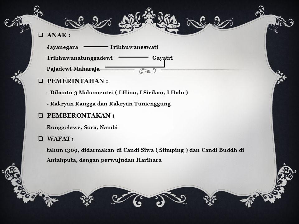 RAJA – RAJA KERAJAAN MAJAPAHIT I.RADEN WIJAYA  GELAR : Sri Kertarajasa Jayawardana, memerintah selama +/- 16 tahun.  DINOBATKAN tahun 1293.  ISTRI