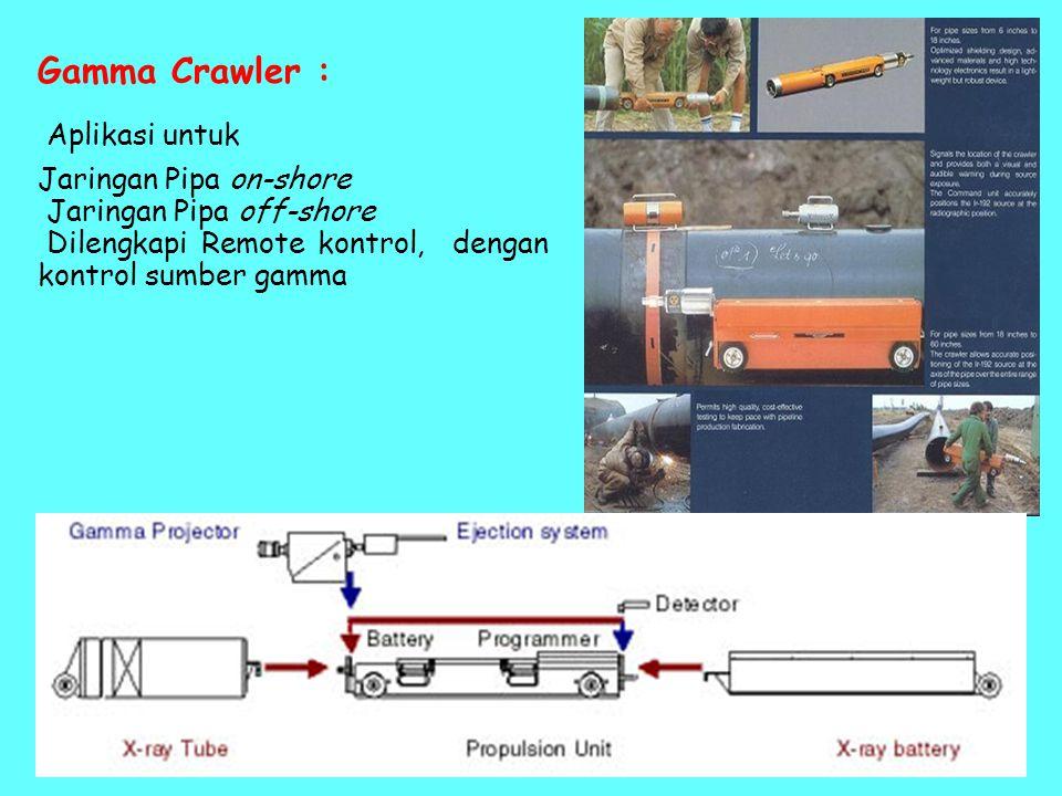 Gamma Crawler : Aplikasi untuk Jaringan Pipa on-shore Jaringan Pipa off-shore Dilengkapi Remote kontrol, dengan kontrol sumber gamma