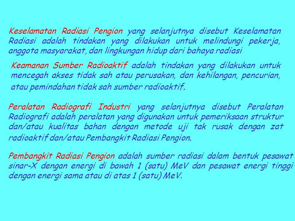 Keselamatan Radiasi Pengion yang selanjutnya disebut Keselamatan Radiasi adalah tindakan yang dilakukan untuk melindungi pekerja, anggota masyarakat,