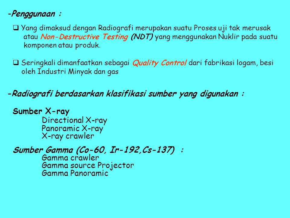 -Penggunaan :  Yang dimaksud dengan Radiografi merupakan suatu Proses uji tak merusak atau Non-Destructive Testing (NDT) yang menggunakan Nuklir pada