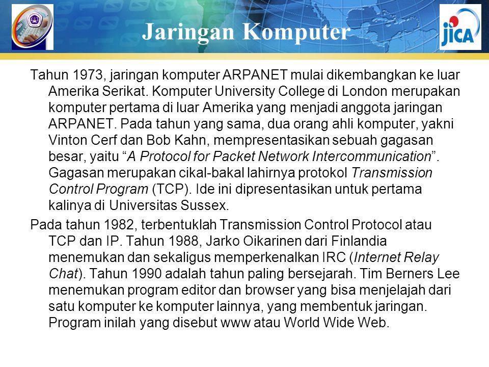 Jaringan Komputer Tahun 1973, jaringan komputer ARPANET mulai dikembangkan ke luar Amerika Serikat. Komputer University College di London merupakan ko