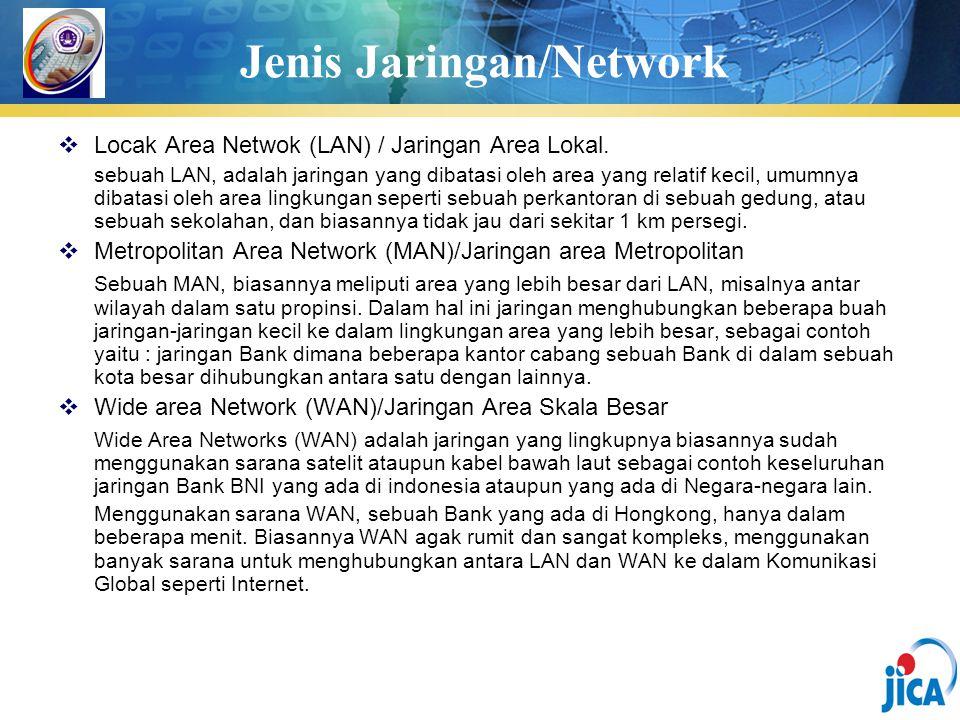 Jenis Jaringan/Network  Locak Area Netwok (LAN) / Jaringan Area Lokal. sebuah LAN, adalah jaringan yang dibatasi oleh area yang relatif kecil, umumny