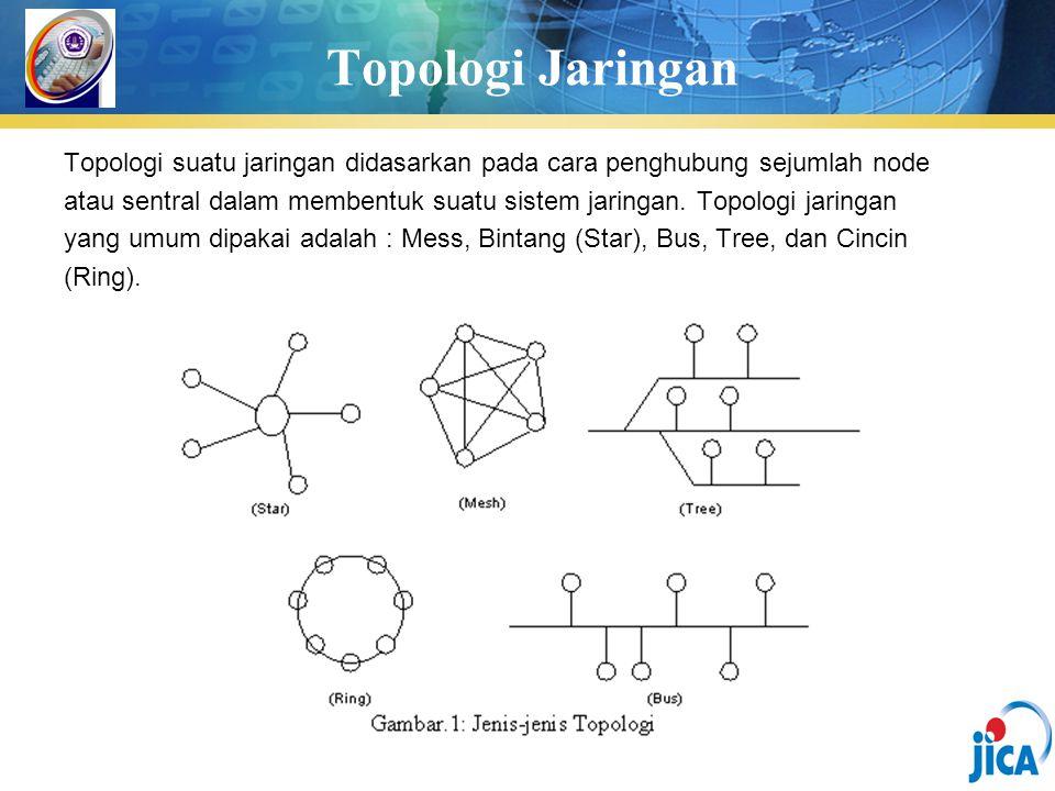 Topologi Jaringan Topologi suatu jaringan didasarkan pada cara penghubung sejumlah node atau sentral dalam membentuk suatu sistem jaringan. Topologi j