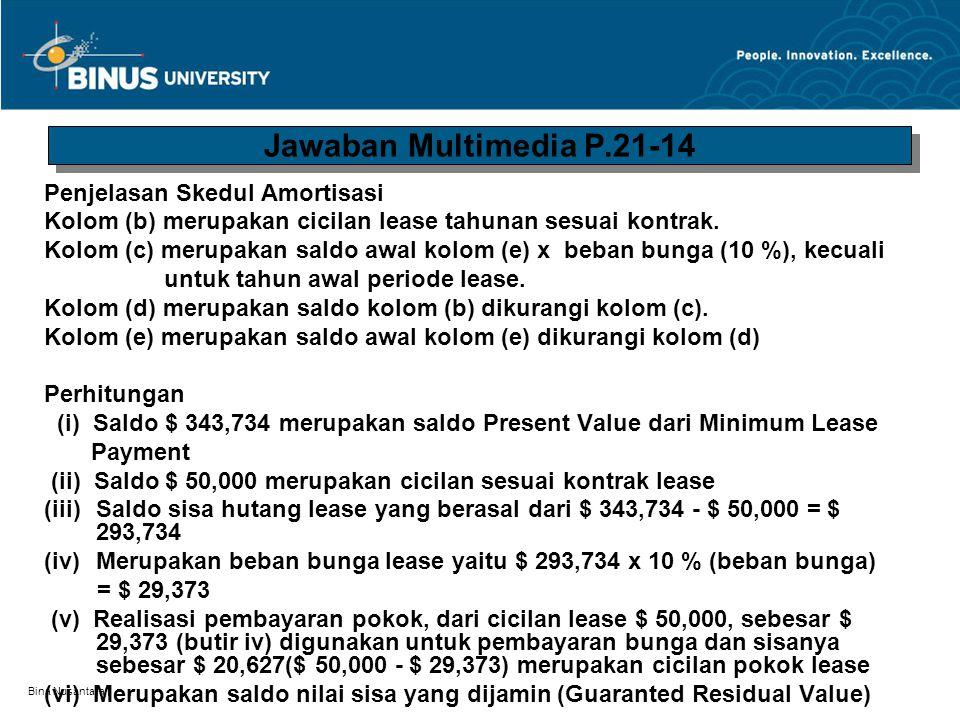 Bina Nusantara Penjelasan Skedul Amortisasi Kolom (b) merupakan cicilan lease tahunan sesuai kontrak. Kolom (c) merupakan saldo awal kolom (e) x beban