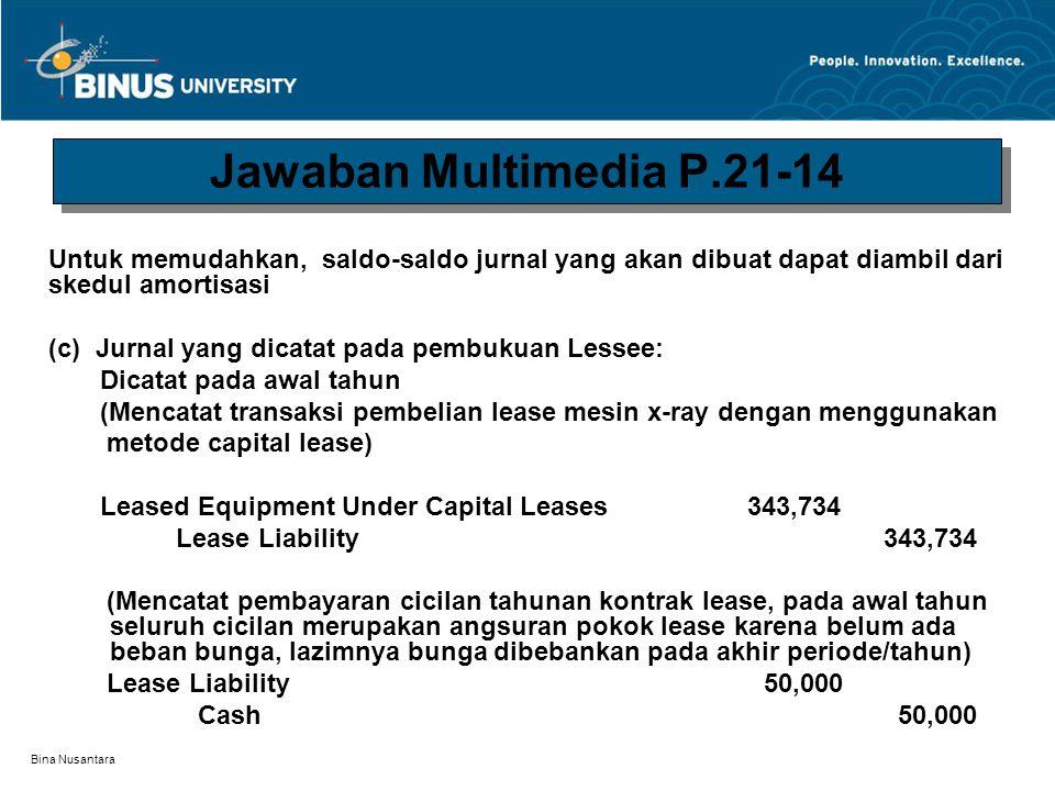 Bina Nusantara Pada akhir tahun (Mencatat accrual interest dari transaksi lease) Interest Expense 29,373 Interest Payable 29,373 (Mencatat depreciation expense untuk tahun pertama dengan menggunakan metode straight line) [($ 343,734 – $ 15,000) ÷ 10 years]) = $ 32,873 Depreciation Expense 32,873 Accumulated Depreciation—Leased Assets 32,873 Jawaban Multimedia P.21-14