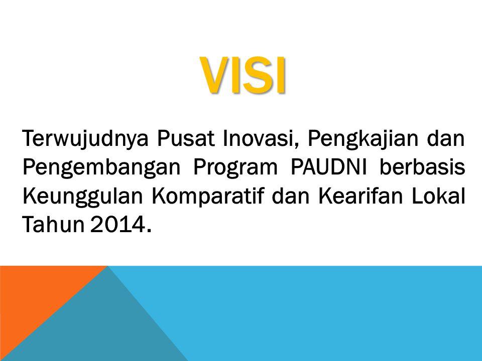 VISI Terwujudnya Pusat Inovasi, Pengkajian dan Pengembangan Program PAUDNI berbasis Keunggulan Komparatif dan Kearifan Lokal Tahun 2014.