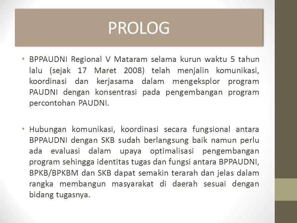 PROLOG • BPPAUDNI Regional V Mataram selama kurun waktu 5 tahun lalu (sejak 17 Maret 2008) telah menjalin komunikasi, koordinasi dan kerjasama dalam mengeksplor program PAUDNI dengan konsentrasi pada pengembangan program percontohan PAUDNI.