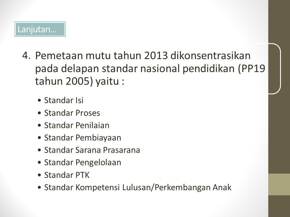Lanjutan… Pemetaan mutu tahun 2013 dikonsentrasikan pada delapan standar nasional pendidikan (PP19 tahun 2005) yaitu : •Standar Isi •Standar Proses •Standar Penilaian •Standar Pembiayaan •Standar Sarana Prasarana •Standar Pengelolaan •Standar PTK •Standar Kompetensi Lulusan/Perkembangan Anak 4.