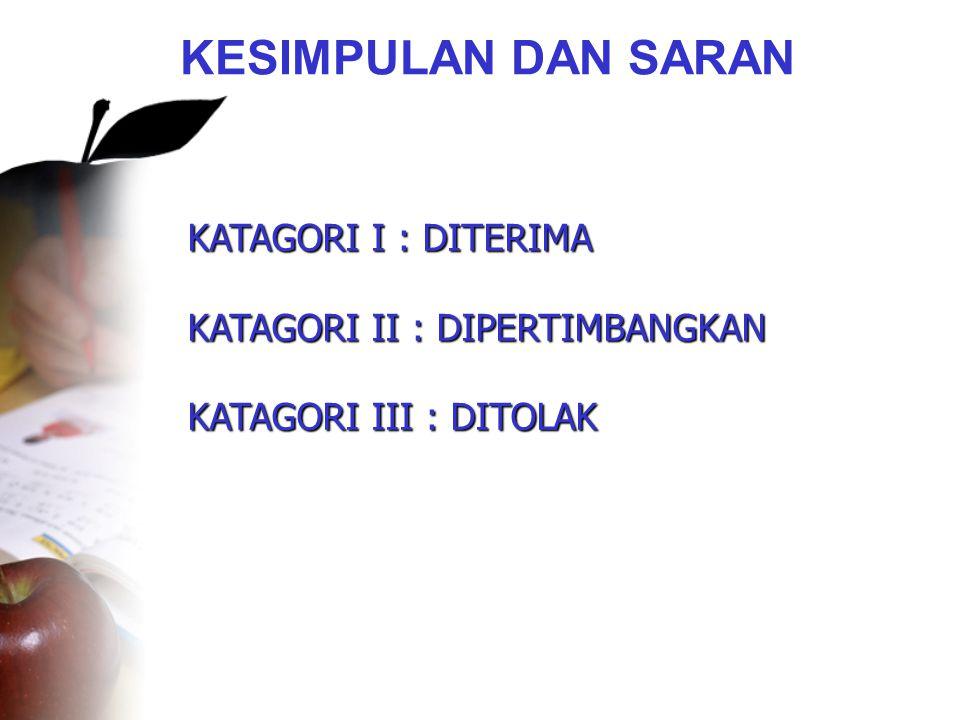 KESIMPULAN DAN SARAN •KATAGORI I : DITERIMA •KATAGORI II : DIPERTIMBANGKAN •KATAGORI III : DITOLAK KATAGORI I : DITERIMA KATAGORI II : DIPERTIMBANGKAN