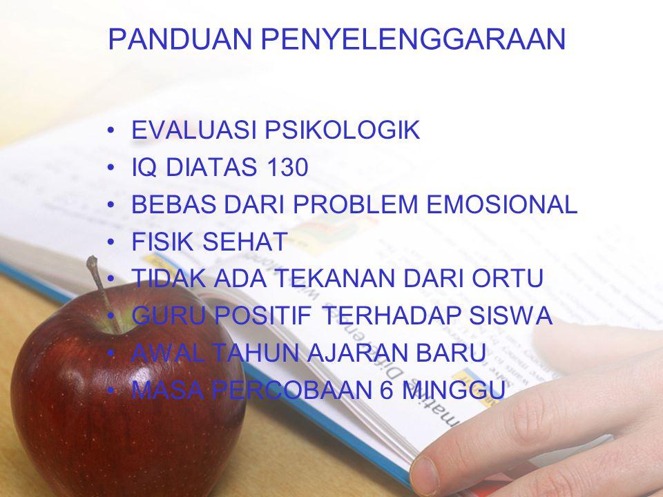 PANDUAN PENYELENGGARAAN •EVALUASI PSIKOLOGIK •IQ DIATAS 130 •BEBAS DARI PROBLEM EMOSIONAL •FISIK SEHAT •TIDAK ADA TEKANAN DARI ORTU •GURU POSITIF TERH