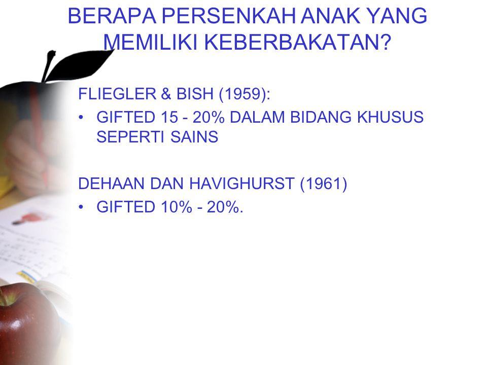 BERAPA PERSENKAH ANAK YANG MEMILIKI KEBERBAKATAN? FLIEGLER & BISH (1959): •GIFTED 15 - 20% DALAM BIDANG KHUSUS SEPERTI SAINS DEHAAN DAN HAVIGHURST (19