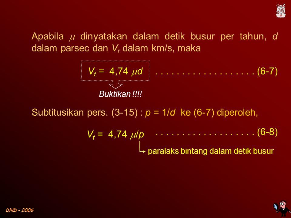 DND - 2006 V t = 4,74  d V t = 4,74  /p paralaks bintang dalam detik busur................... (6-7)................... (6-8) Apabila  dinyatakan da