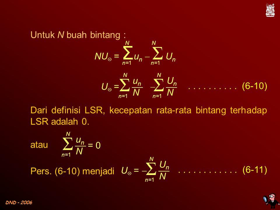 DND - 2006 Untuk N buah bintang : NU  = Σ u n  Σ U n NN n=1.......... (6-10) U  =  Σ unun N N n=1 Σ UnUn N N Dari definisi LSR, kecepatan rata-rat