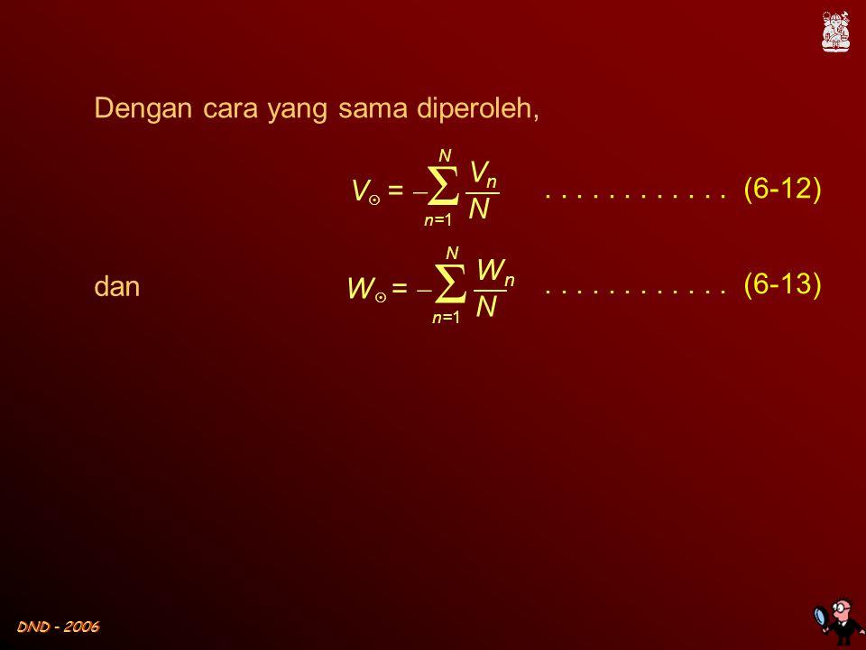 DND - 2006 Dengan cara yang sama diperoleh, V  =  Σ VnVn N N n=1............ (6-12) W  =  Σ WnWn N N n=1............ (6-13) dan
