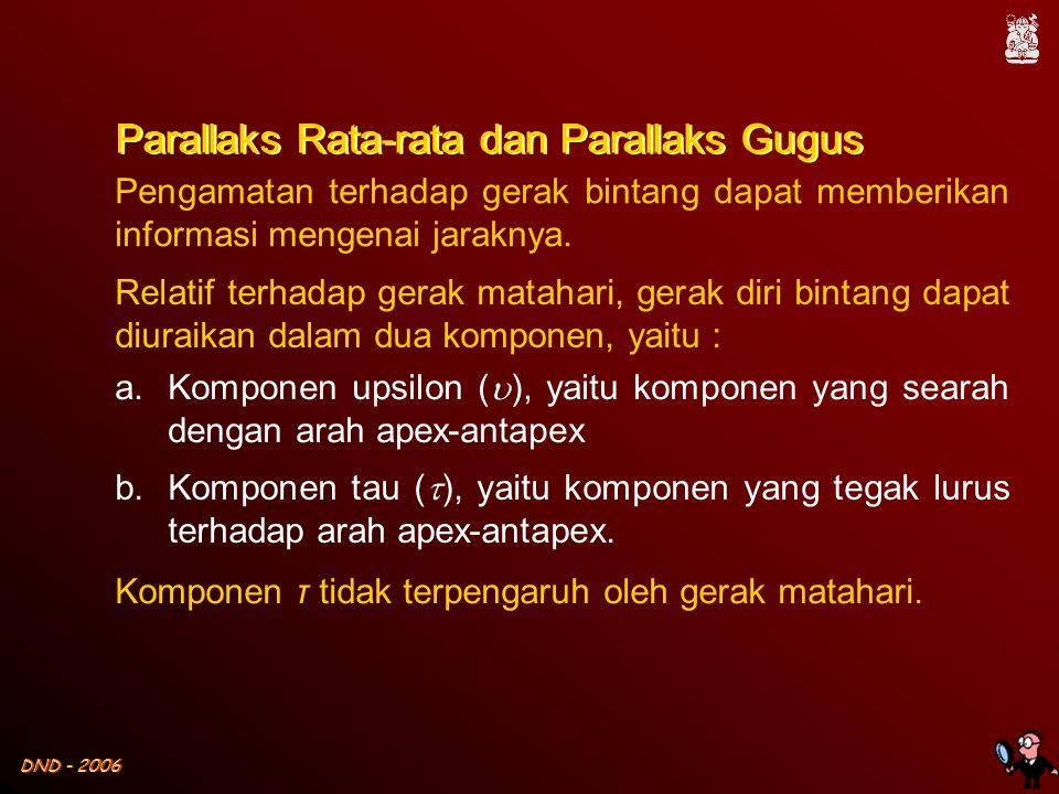 DND - 2006 Parallaks Rata-rata dan Parallaks Gugus Pengamatan terhadap gerak bintang dapat memberikan informasi mengenai jaraknya.