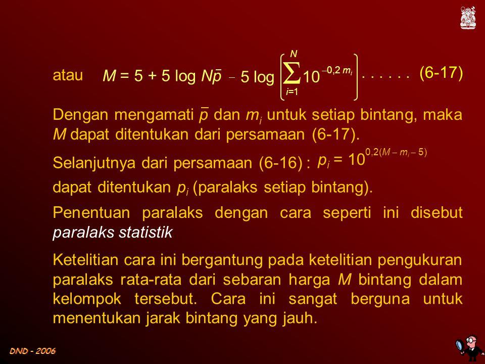 DND - 2006 5 log 10 Σ N i=1  0,2 m i M = 5 + 5 log Np  atau...... (6-17) Selanjutnya dari persamaan (6-16) : Dengan mengamati p dan m i untuk setiap