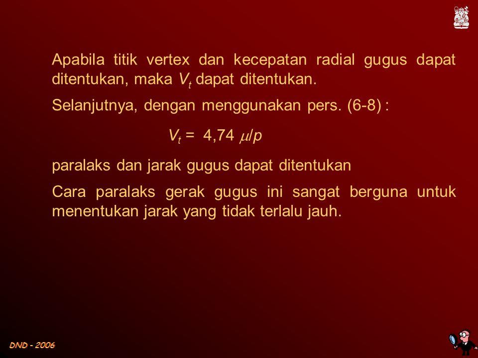 DND - 2006 Apabila titik vertex dan kecepatan radial gugus dapat ditentukan, maka V t dapat ditentukan. Selanjutnya, dengan menggunakan pers. (6-8) :