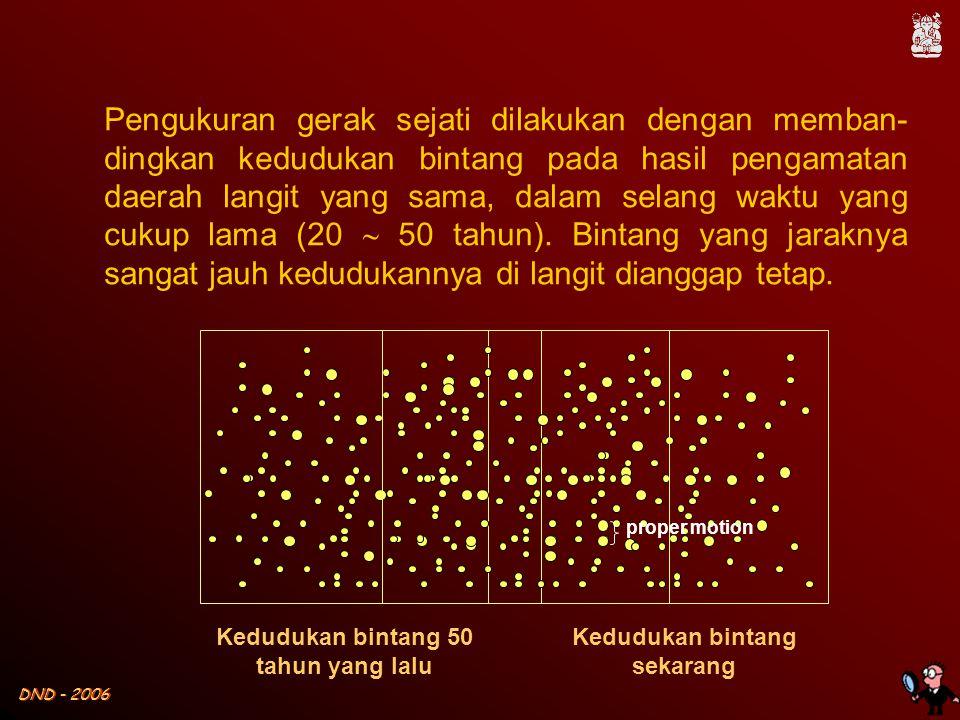 DND - 2006 Kedudukan bintang 50 tahun yang lalu Kedudukan bintang sekarang Pengukuran gerak sejati dilakukan dengan memban- dingkan kedudukan bintang pada hasil pengamatan daerah langit yang sama, dalam selang waktu yang cukup lama (20  50 tahun).