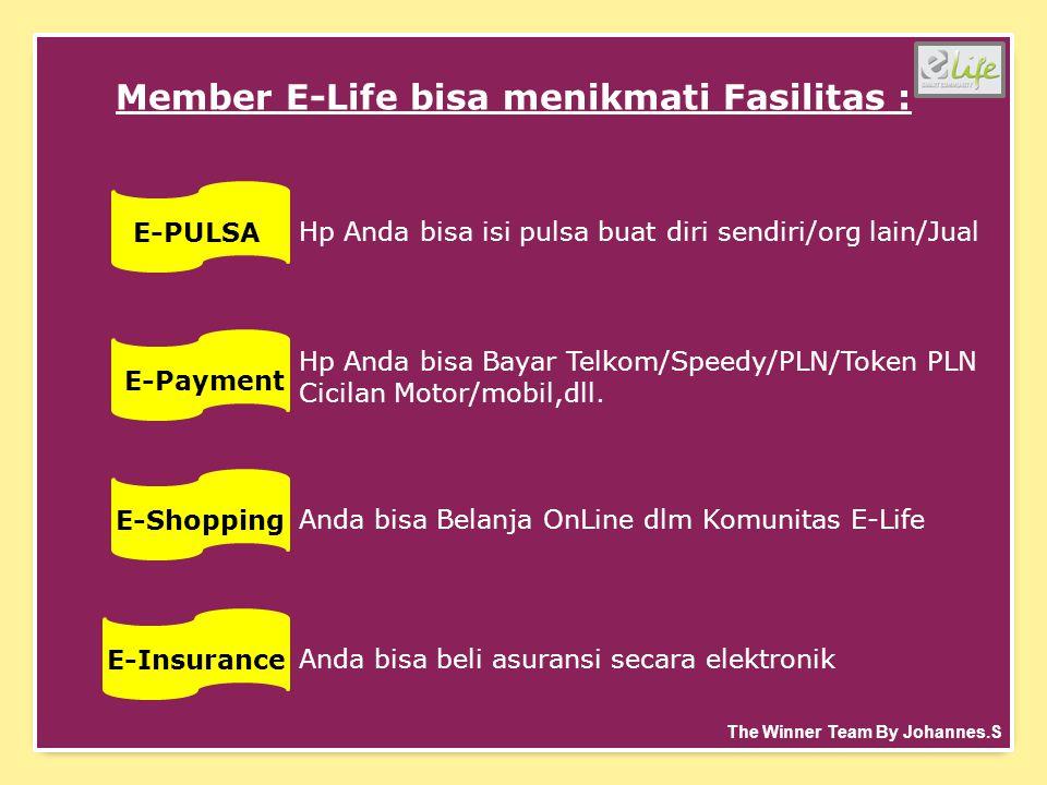 Member E-Life bisa menikmati Fasilitas : E-PULSA Hp Anda bisa isi pulsa buat diri sendiri/org lain/Jual E-Payment Hp Anda bisa Bayar Telkom/Speedy/PLN/Token PLN Cicilan Motor/mobil,dll.
