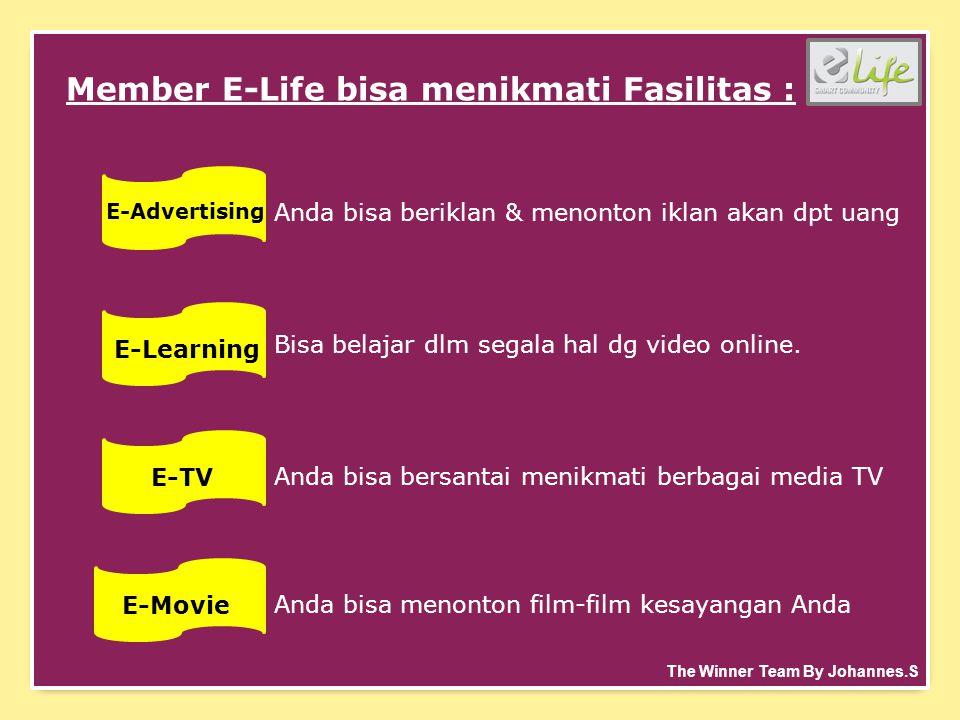 Member E-Life bisa menikmati Fasilitas : E-Advertising Anda bisa beriklan & menonton iklan akan dpt uang E-Learning Bisa belajar dlm segala hal dg video online.