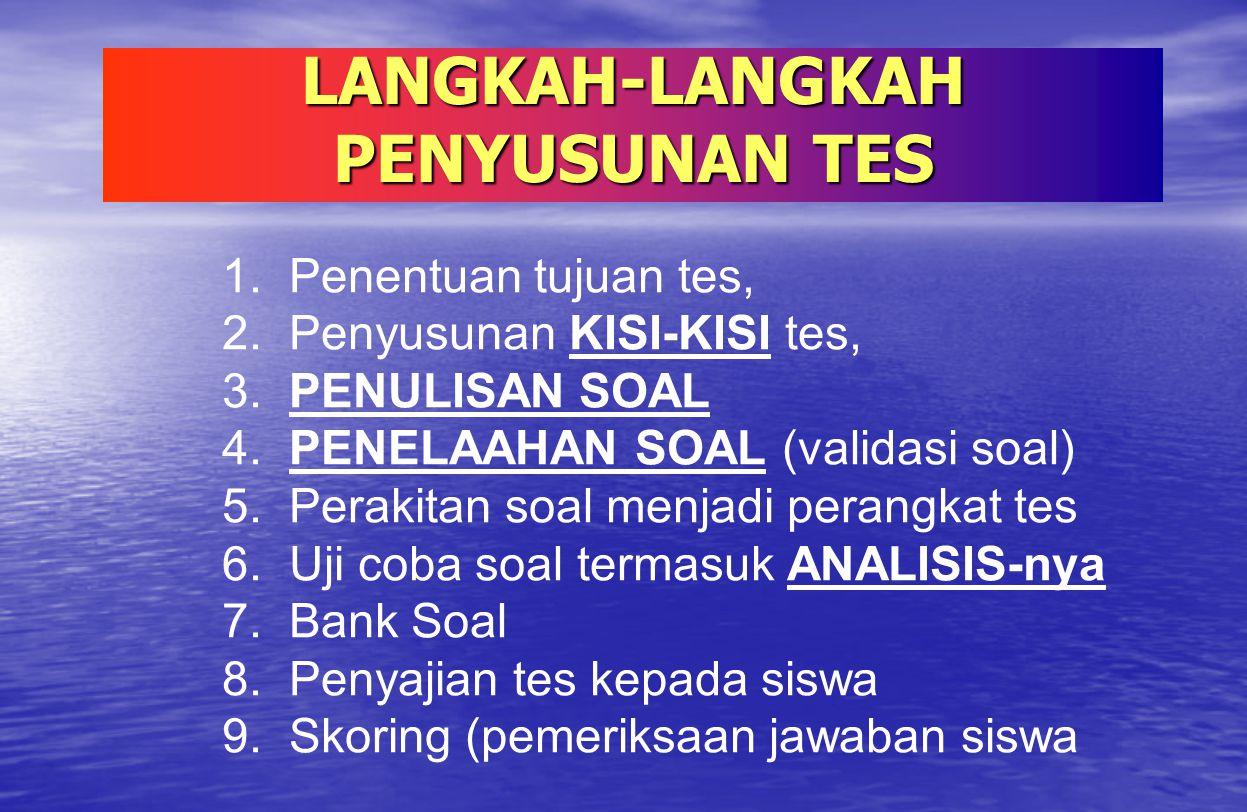LANGKAH-LANGKAH PENYUSUNAN TES 1. Penentuan tujuan tes, 2. Penyusunan KISI-KISI tes, 3. PENULISAN SOAL 4. PENELAAHAN SOAL (validasi soal) 5. Perakitan