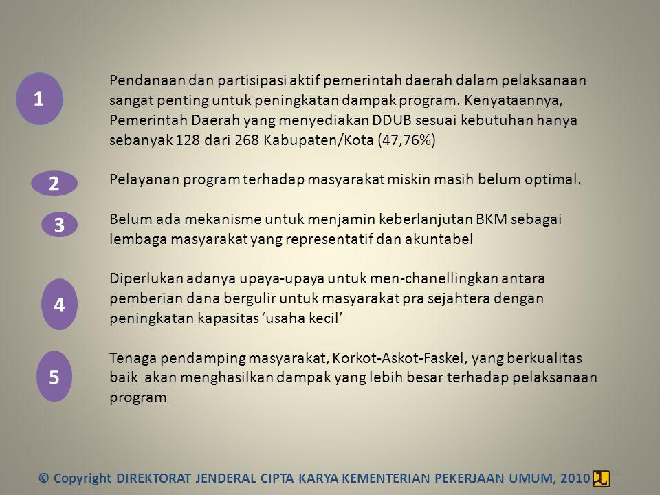 11 Pendanaan dan partisipasi aktif pemerintah daerah dalam pelaksanaan sangat penting untuk peningkatan dampak program. Kenyataannya, Pemerintah Daera