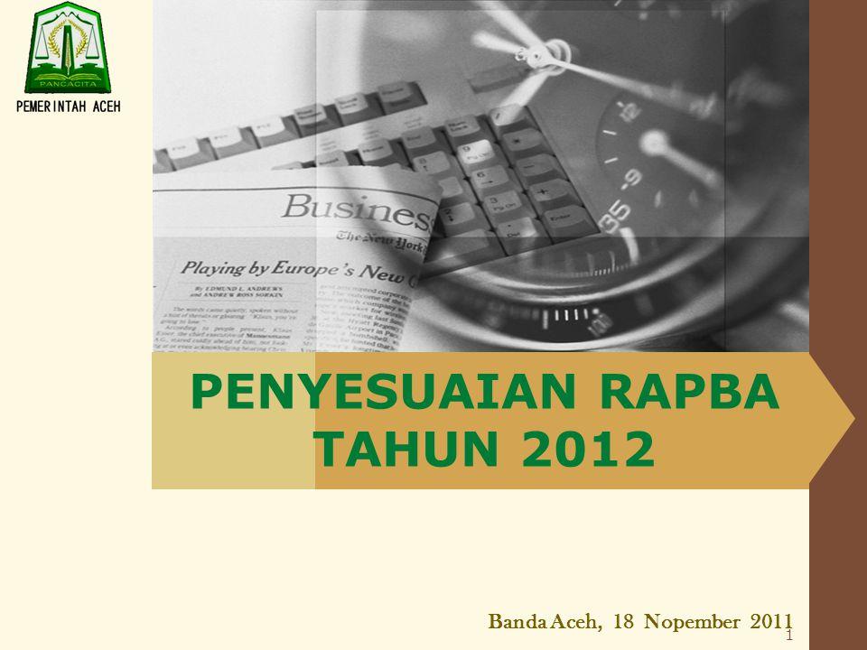 LOGO PENYESUAIAN RAPBA TAHUN 2012 Banda Aceh, 18 Nopember 2011 1
