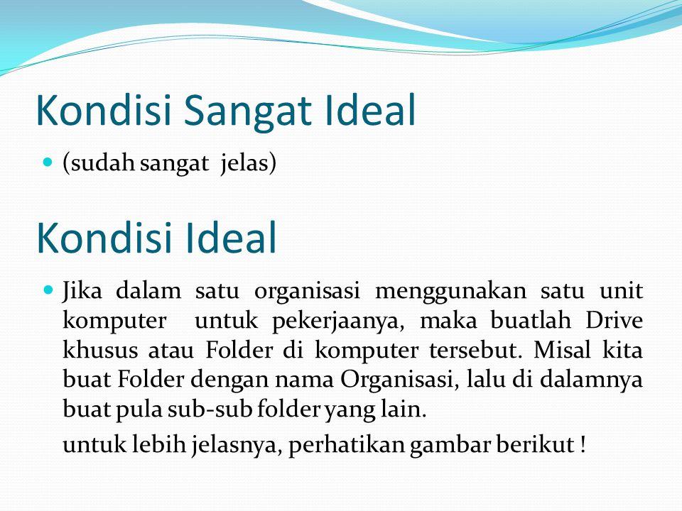 Kondisi Sangat Ideal  (sudah sangat jelas) Kondisi Ideal  Jika dalam satu organisasi menggunakan satu unit komputer untuk pekerjaanya, maka buatlah Drive khusus atau Folder di komputer tersebut.