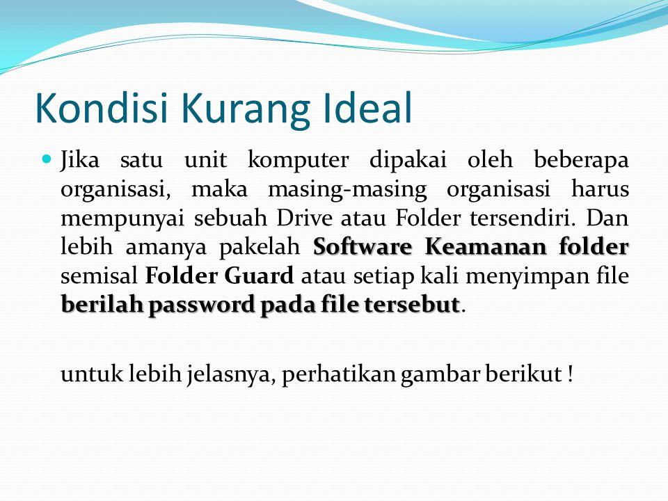 Kondisi Kurang Ideal Software Keamanan folder berilah password pada file tersebut  Jika satu unit komputer dipakai oleh beberapa organisasi, maka masing-masing organisasi harus mempunyai sebuah Drive atau Folder tersendiri.