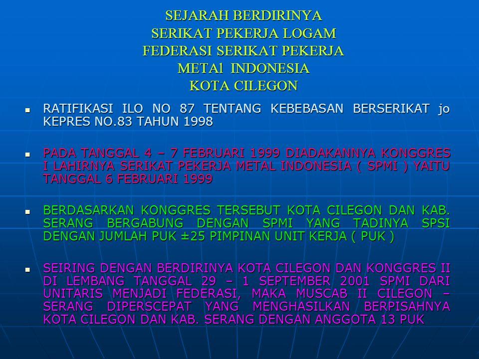 SEJARAH BERDIRINYA SERIKAT PEKERJA LOGAM FEDERASI SERIKAT PEKERJA METAl INDONESIA KOTA CILEGON  RATIFIKASI ILO NO 87 TENTANG KEBEBASAN BERSERIKAT jo