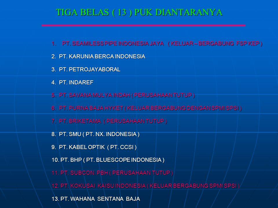TIGA BELAS ( 13 ) PUK DIANTARANYA 1. PT. SEAMILESS PIPE INDONESIA JAYA ( KELUAR – BERGABUNG FSP KEP ) 2. PT. KARUNIA BERCA INDONESIA 3. PT. PETROJAYAB