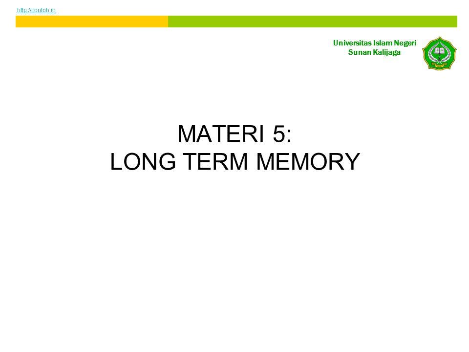 Universitas Islam Negeri Sunan Kalijaga MATERI 5: LONG TERM MEMORY http://contoh.in