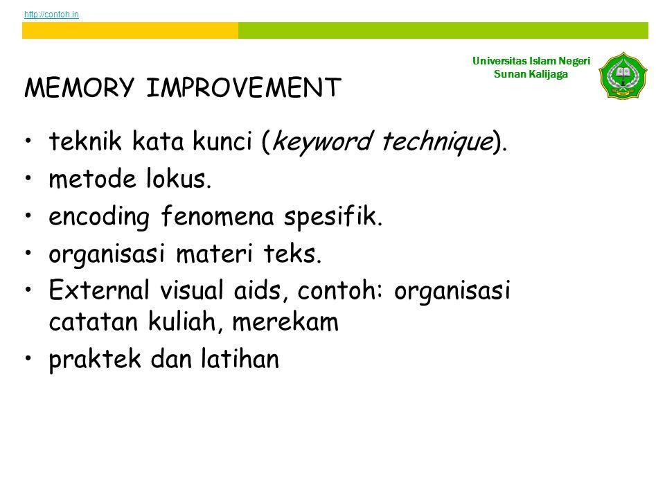 Universitas Islam Negeri Sunan Kalijaga MEMORY IMPROVEMENT •teknik kata kunci (keyword technique).