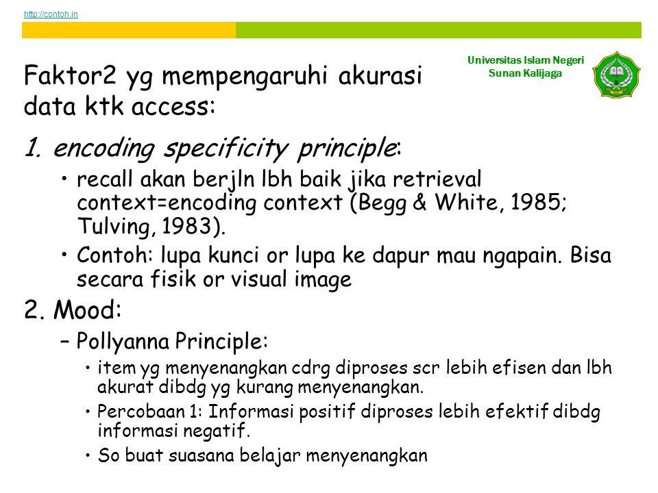 Universitas Islam Negeri Sunan Kalijaga Faktor2 yg mempengaruhi akurasi data ktk access: 1.encoding specificity principle: •recall akan berjln lbh baik jika retrieval context=encoding context (Begg & White, 1985; Tulving, 1983).