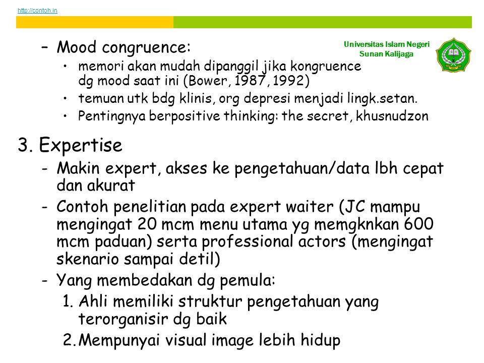 Universitas Islam Negeri Sunan Kalijaga –Mood congruence: •memori akan mudah dipanggil jika kongruence dg mood saat ini (Bower, 1987, 1992) •temuan utk bdg klinis, org depresi menjadi lingk.setan.